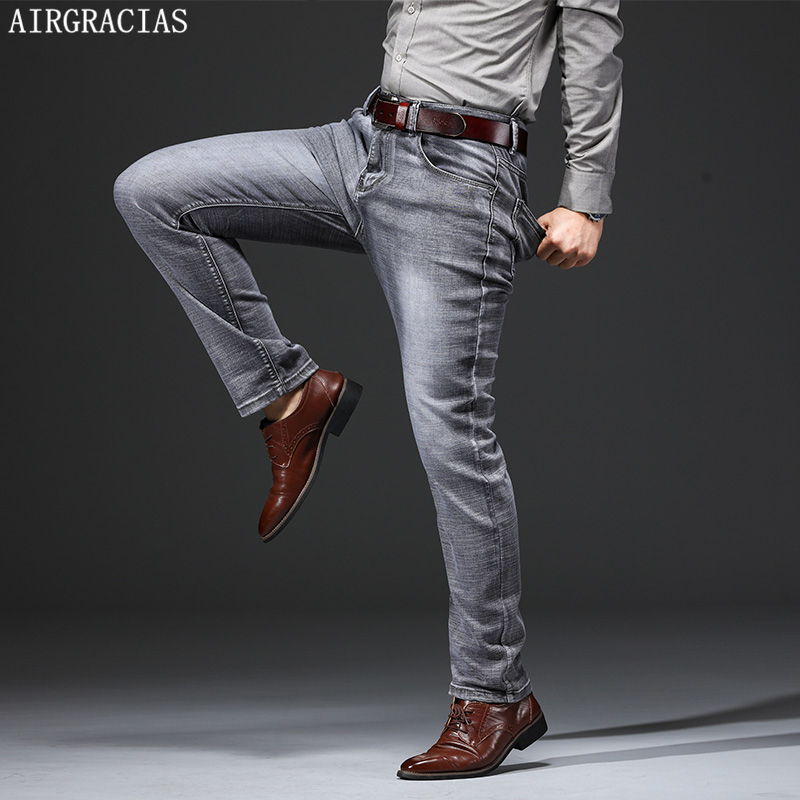 AIRGRACIAS Jeans Men Classic Retro Nostalgia Straight Denim Jeans Men Plus Size 28-38 Men Brand Long Pants Trousers