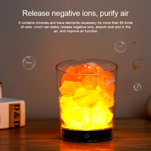 USB  Himalayan Crystal Rock Salt Lamp Salt Night Light LED Air Purifier Night Light Rechargeable Bedside creative lamp
