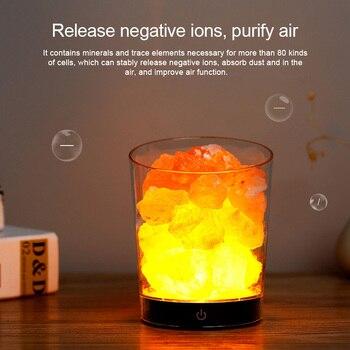 USB  Himalayan Crystal Rock Salt Lamp Salt Night Light LED Air Purifier Night Light Rechargeable Bedside creative lamp