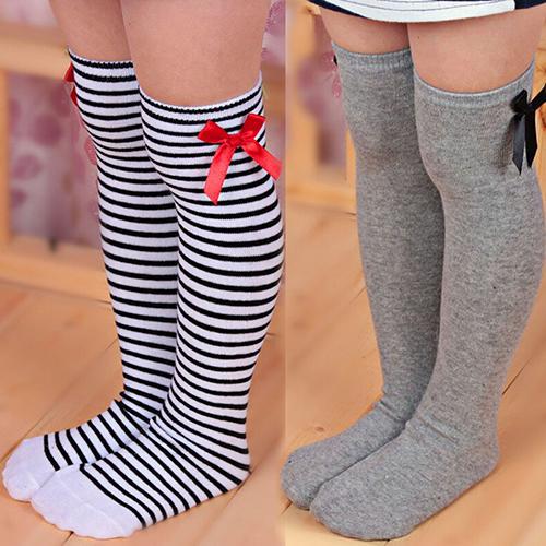 Lovely Girls Kids Toddler Bow Knee High Socks Colours Silk Bow Baby Girl Socks Striped Princess Socks 1 To 8 Years
