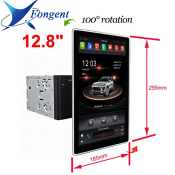 """180° 1080P 1920*1080 12.8""""  inch Screen IPS Android 8.1 Unit 4GB 32GB Car DVD Player GPS Radio PX6 2 Din for universal PC Stereo"""