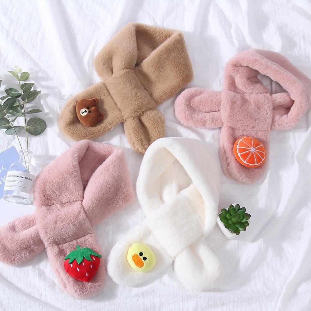新生児スカーフ暖かい冬かわいいスカーフ少年少女スカーフベビー模造ウサギの毛皮の襟スカーフポンポンネックウォーマーギフト