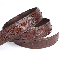Authentic Real Crocodile Skin Male Brown Belt without Buckle Genuine Exotic Alligator Leather Belt Classical Men's Waist Strap