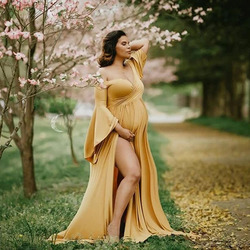 Cotton Maternity Dresses for Photo Shoot Sexy Shouldless Ruffle Pregnant Dresses for Women Puff Sleeve Maxi Long Pregnancy Dress