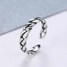 Genuine S925 Sterling Silver Female Retro Personality Trend Ring Thai Silver Twist Rope Open Ring Jewellery 925 sterling silver retro thai silver bulldog fierce dog ring fashion hip hop personality ring
