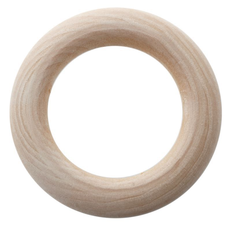ABZC-20pc Unfinished Teething Ring Add On Wooden Rings 55mm Natural 2.2 Inches