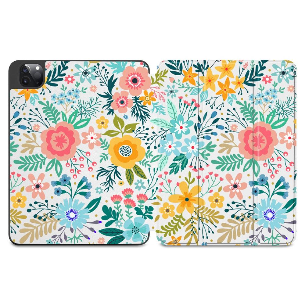 X026 Green Flowers Print Case for Apple iPad Pro 11 2020 2018Full Body Protective Rugged Shockproof Case with