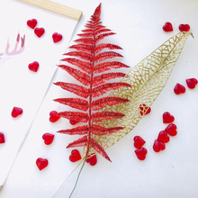 Christmas Tree Decoration Flower Grass Leaf Hollow Flash Fake Home Party Happy New Year Gold Silver 40cm