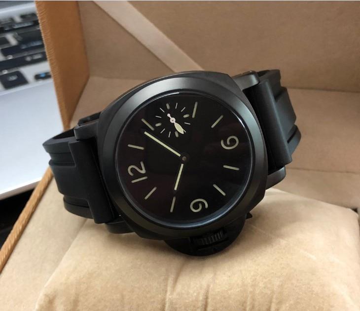 44mm GEERVO Left crown black dial Asian 6497 17 jewels Mechanical Hand Wind movement men's watch PVD luminous gr287-g8