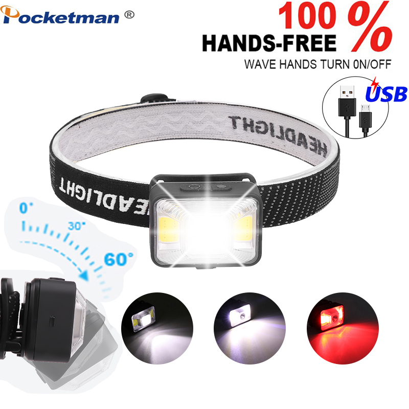 5000LM LED Headlamp Flashlight Rechargeable Headlights, XPE LED+2*COB USB Cable,Waterproof Head Torch With Red/White Light