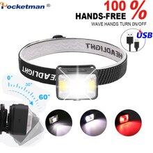 5000LM LED Đèn Pin Sạc Đèn Pha, XPE LED + 2 * COB USB Cáp chống Thấm Nước Đầu Đèn Pin Với Đỏ/Ánh Sáng Trắng