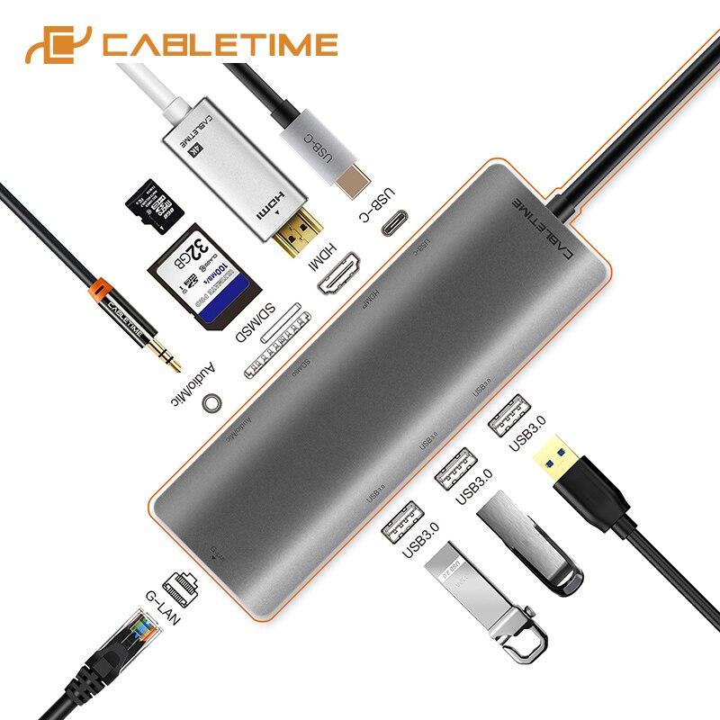 Moyeu de USB C de câble à Multi USB 3.0 adaptateur HDMI Dock pour accessoires MacBook 9in1 USB-C Type C 3.1 répartiteur 3 ports HUB C042