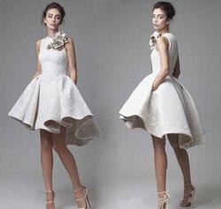 2020 платья для выпускного бала с высоким воротником и кружевными цветами, Элегантные Короткие коктейльные платья vestido de noiva