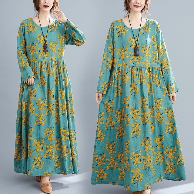Cotton Loose Women Casual Spring Dress Long Sleeve Autumn Dress Plus Size Long Maxi Dress Print Floral Female Vintage Dress 2