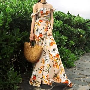 Image 4 - TEELYNN off shoulder maxi dresses sexy Side split boho dress floral print summer Dresses beach Gypsy women dress Vestidos