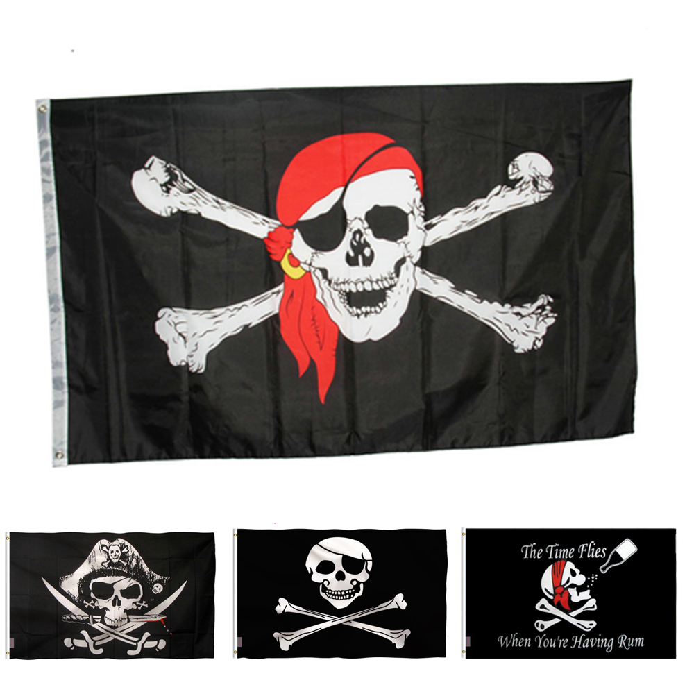 Halloween Decoration Skull Jolly Roger Pirate Flags With Grommets Decoration bandeira skull bones pirate flag <font><b>90*150</b></font> cm image
