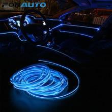 FORAUTO-tira de luces LED para Interior de coche, luz de neón Flexible de 5 metros, bricolaje, cable de cuerda EL, lámpara de ambiente decorativo