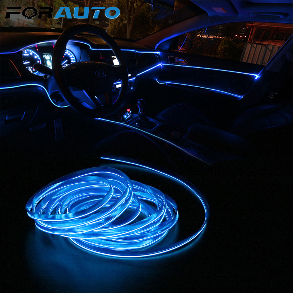 FORAUTO 5m EL Wire Flexible Neon Light Strips Car Styling Interior Decoration Car 12V LED Cold Lights Decorative Lamp Auto Lamps