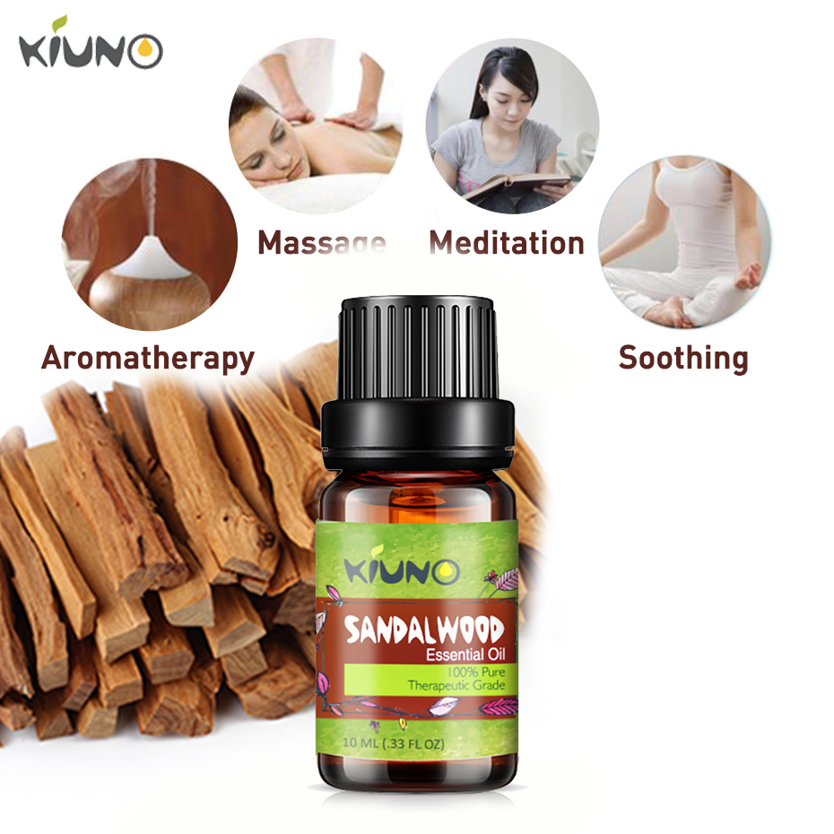 KINUO 10ml Natural Water-soluble Air Freshening Sandalwood Essential Oils For Aromatherapy Diffusers Relieve Stress Skin Care image