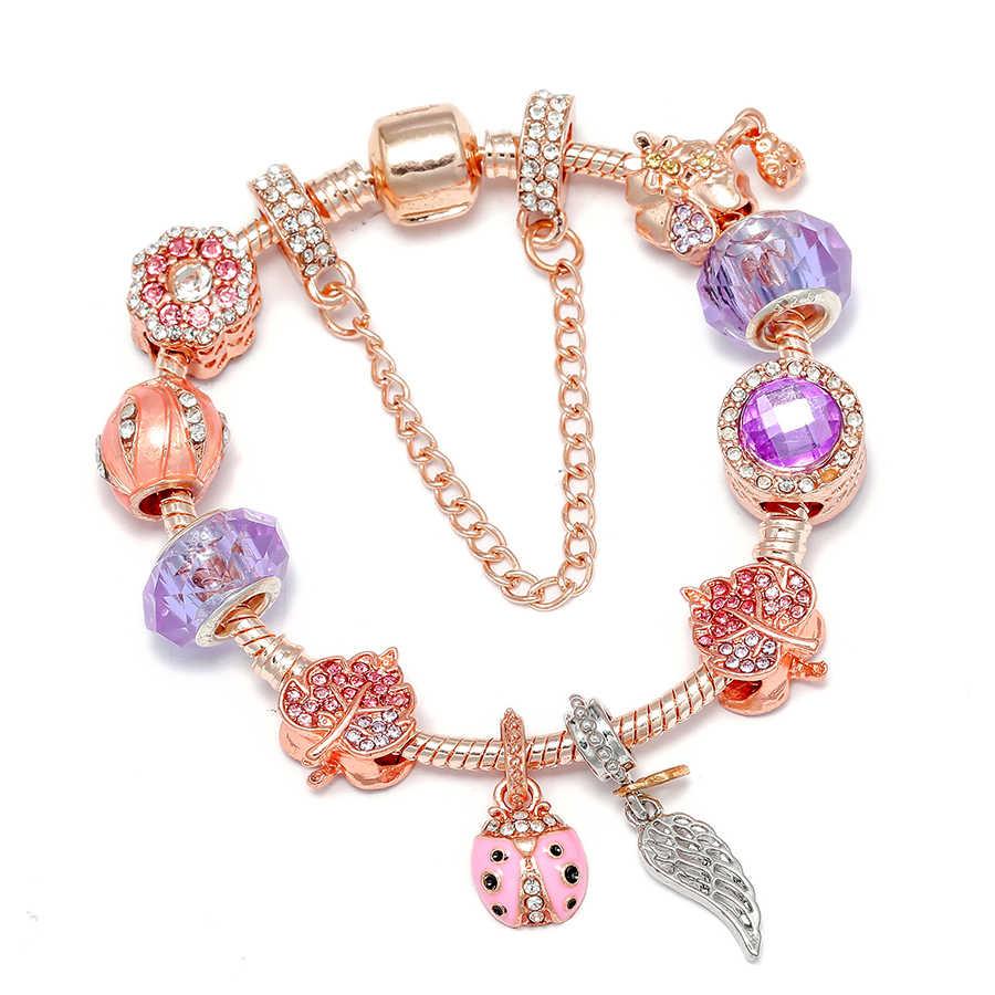 Seialoy Rose Gold Armband & Bangles Voor Vrouwen Prinses Elanden Kraal Happy Charm Merken Armbanden Fit Meisje Paar Vriendschap Gift