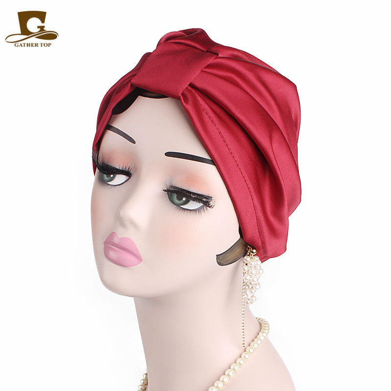 Women Elastic Silky Satin Bonnet Salon Sleep Cap Ruffles Chemo Cancer Cap Beanie Head Wrap Muslim Hijib Scarf Hair Accessories