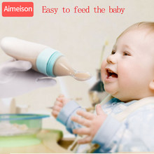 Aimeison silicone baby spoon feeding baby Baby Silicone Feeding With Spoon Feeder Food Rice Cereal Bottle spoon for baby(China)