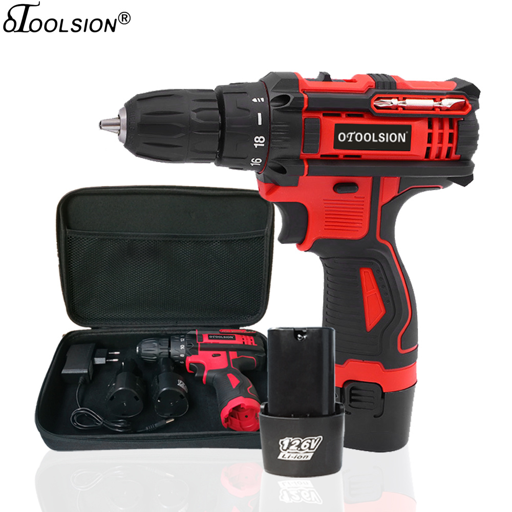 12.6V 18+1 Torque Electric Drill Rechargeable Screwdriver 1.5Ah Power Tool Electric Cordless Drill Hand With Batteries Tool Bag