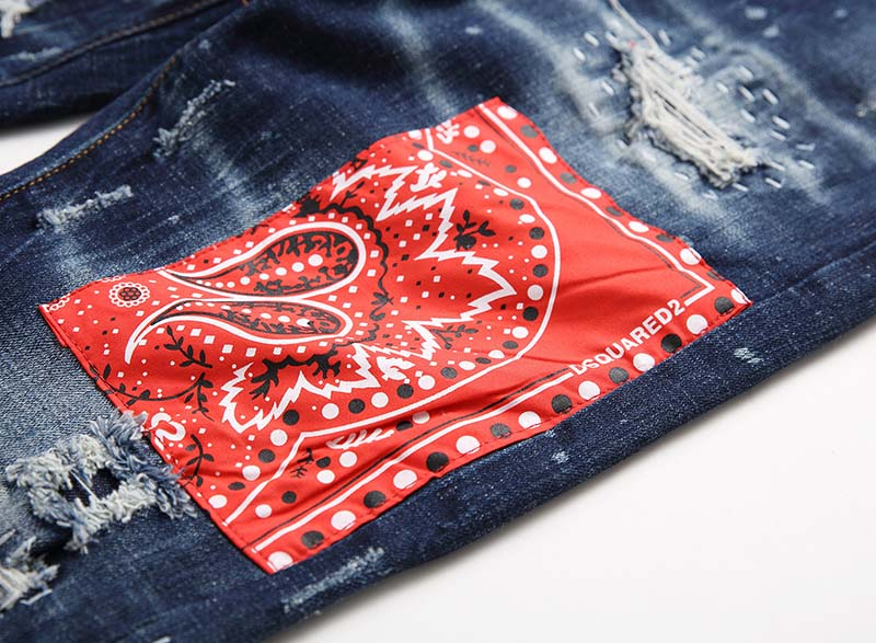 KIOVNO Fashion Men Ripped Distressed Denim Trousers Punk Style Badge Patchwork Jeans Pants Male Streetwear Straight (6)