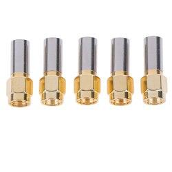 5pcs SMA Male Plug For RG58 RG142 RG400 LMR195 RG223 RF Coaxial Connector Crimp