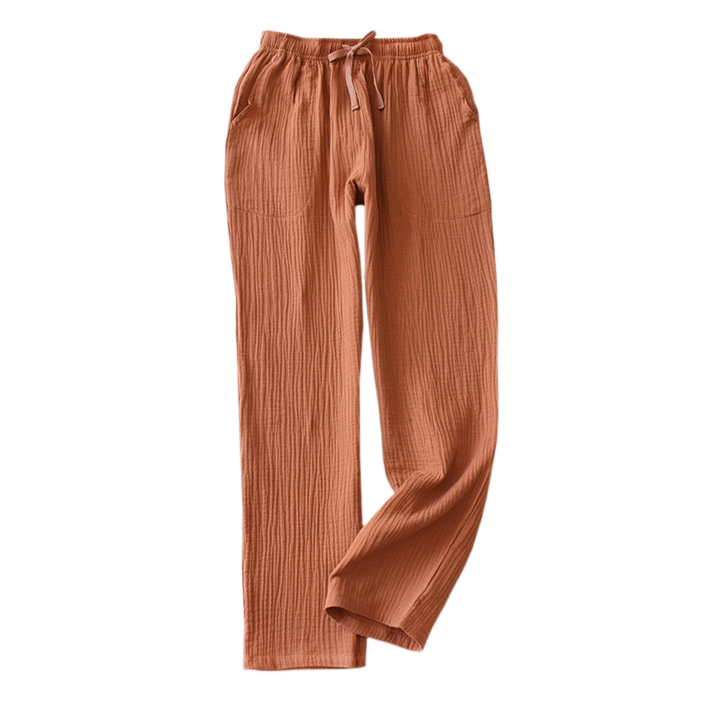 New Summer Cozy Home Pants For Women Japanese Fresh Sleep Bottoms 100% Crepe Cotton Pajamas Pants Women Sleepwear Trousers