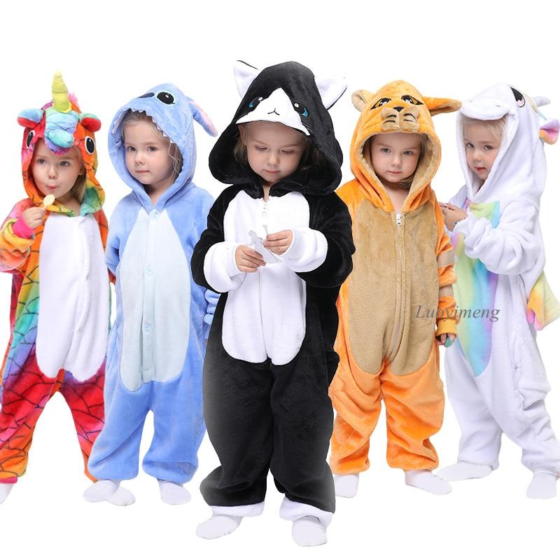 Kigurumi Children's Pajamas For Boys Girls Unicorn Pajamas Flannel Kids Stitch Pijamas Suit Animal Sleepwear Winter Cat Onesies