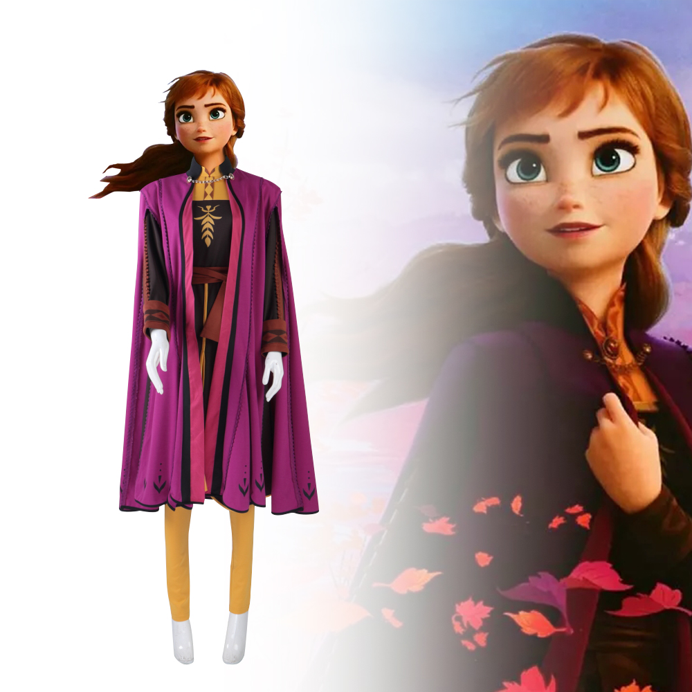 Fro zen2 neve rainha anna elsa princesa cosplay traje conjunto completo trajes de halloween vestido fantasia alta qualidade festa novo