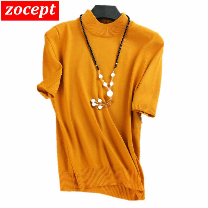 zocept 2019 Women's Short-Sleeved Sweaters Women Cashmere Blend Knitted Half Turtleneck Solid Color Short-Sleeve Pullovers Tees