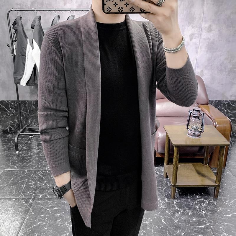 Autumn Winter New Cardigan Men Casual Fashion 2020 Ropa Hombre All Match Slim Fit Sweater Men Long Sleeve Men Coats 5Colors 3XL