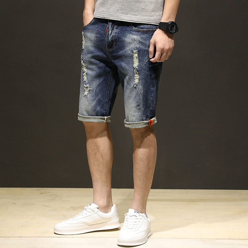 2018 Spring Summer New Style Men Fashion Jeans Versatile Handsome Frayed Cowboy Shorts Casual