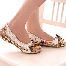 Vintage zapatos de mujer con plataforma, tipo mocasín flor Slip On cordones mocasines zapatos cómodos Old Peking bailarina zapatos planos zapato femenino