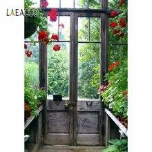 Laeacco Весенняя деревянная дверь сад зеленые растения фото