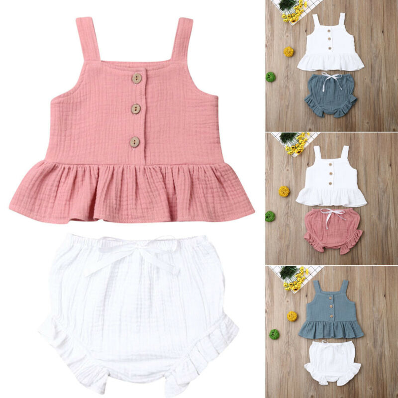 NEW 2020 Toddler Kid Baby Girl Ruffle Sling Top Short + Pants Outfit Summer 2PCS Clothes Set