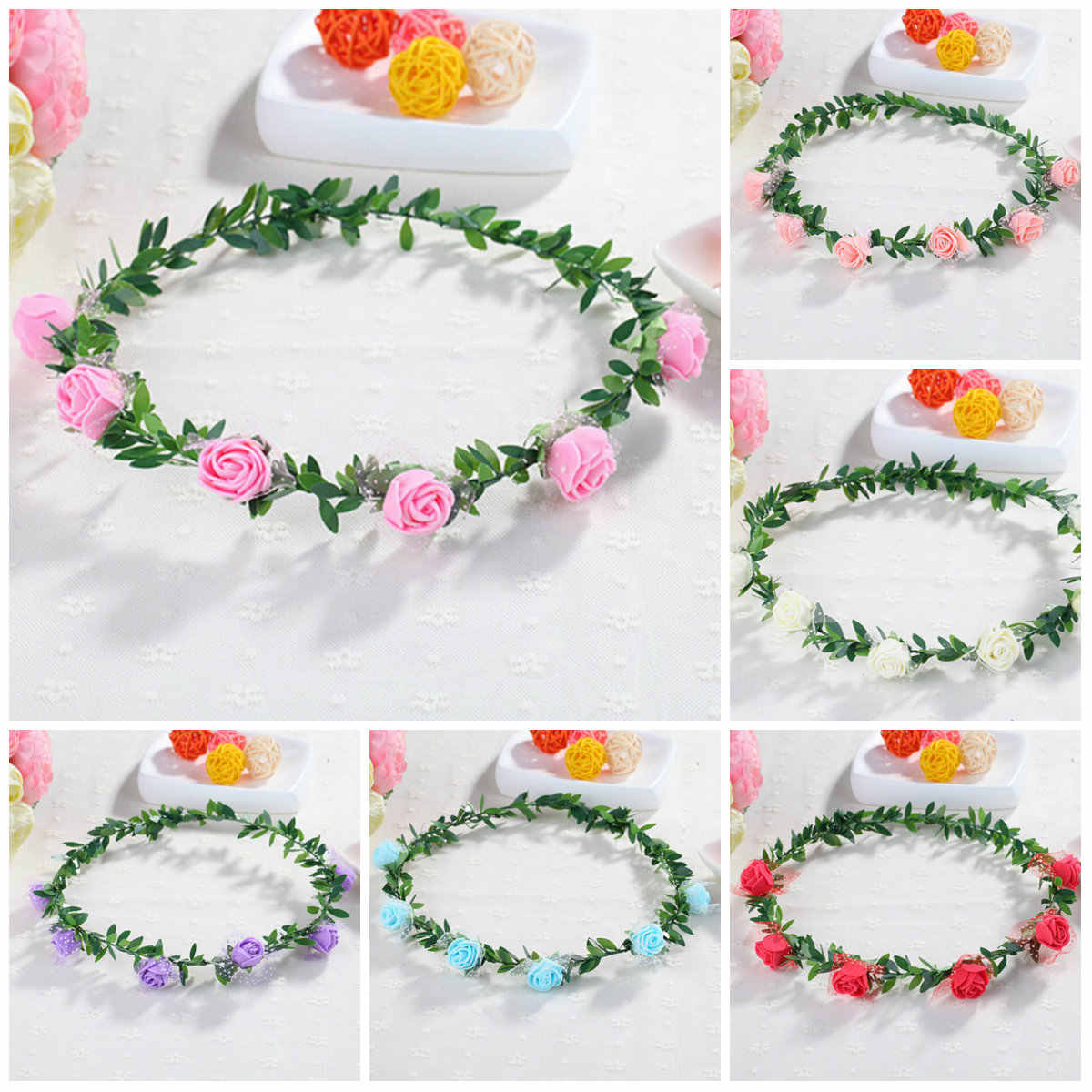 Crown Hair Band Rose Carnations Peony Flower Halo Bridal Floral Wreath Mint Head Wreath Party Wedding Headpiece Bridesmaid