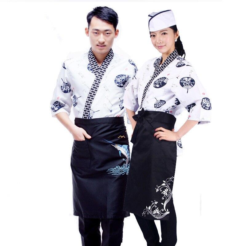 Unisex Japan Style Sushi Food Service Clothing Chef Uniforms Kimono Japanese Kitchen Restaurant Jackets Yukata Cardigan Costumes