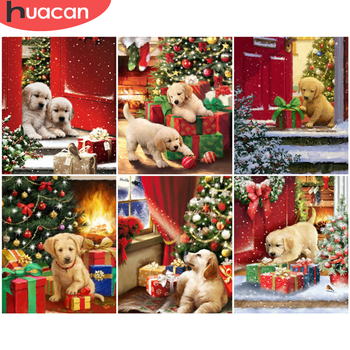 HUACAN Paint By Number Christmas Hand Painted Painting Art Gift DIY Pictures By Numbers Dog Kits Drawing On Canvas Home Decor