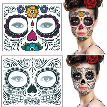 2019 Halloween Facial Temporary Tattoo Stickers Waterproof Face Dress Up Colorful For Makeup Party