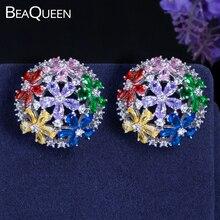 цена на BeaQueen Brilliant Colorful CZ Hollow Out Half Ball Big Round Stud Earrings Multicolor Cubic Zircon Flower Boho Jewelry E135