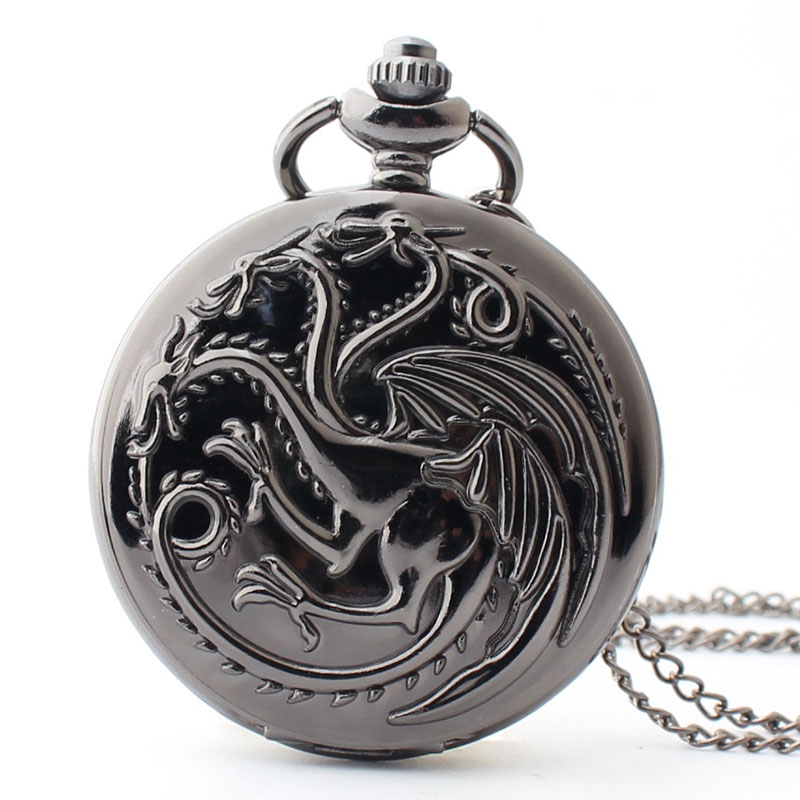 Pocket & Fob Watch Bronze Three headed Dragon Pocket Watch Necklace Pendant Watch Chain Xmas Watch Gift Men/Women