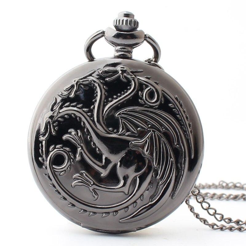 Pocket & Fob Watch Bronze Three Headed Dragon Pocket Watch Necklace Pendant Watch Chain Xmas Watch Gift Men/Women
