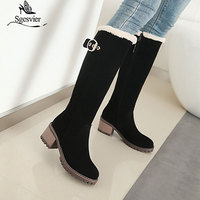 SgesvierWomen Boots Female Winter Shoes Woman Fur Warm Snow Boots Fashion Square High Heels knee high Boots Black Boots