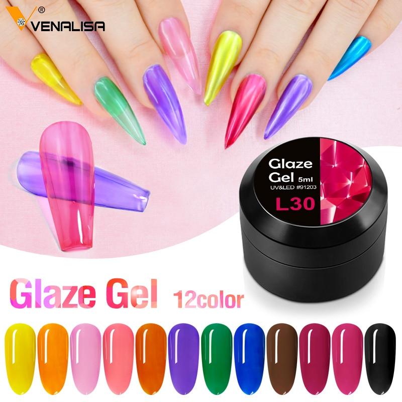 Venalisa Glass Gel Lacquer Translucent Candy Color Neon Gemstone Soak Off UV LED Nail Gel Varnish Glaze Gel Nail Decoration Gel