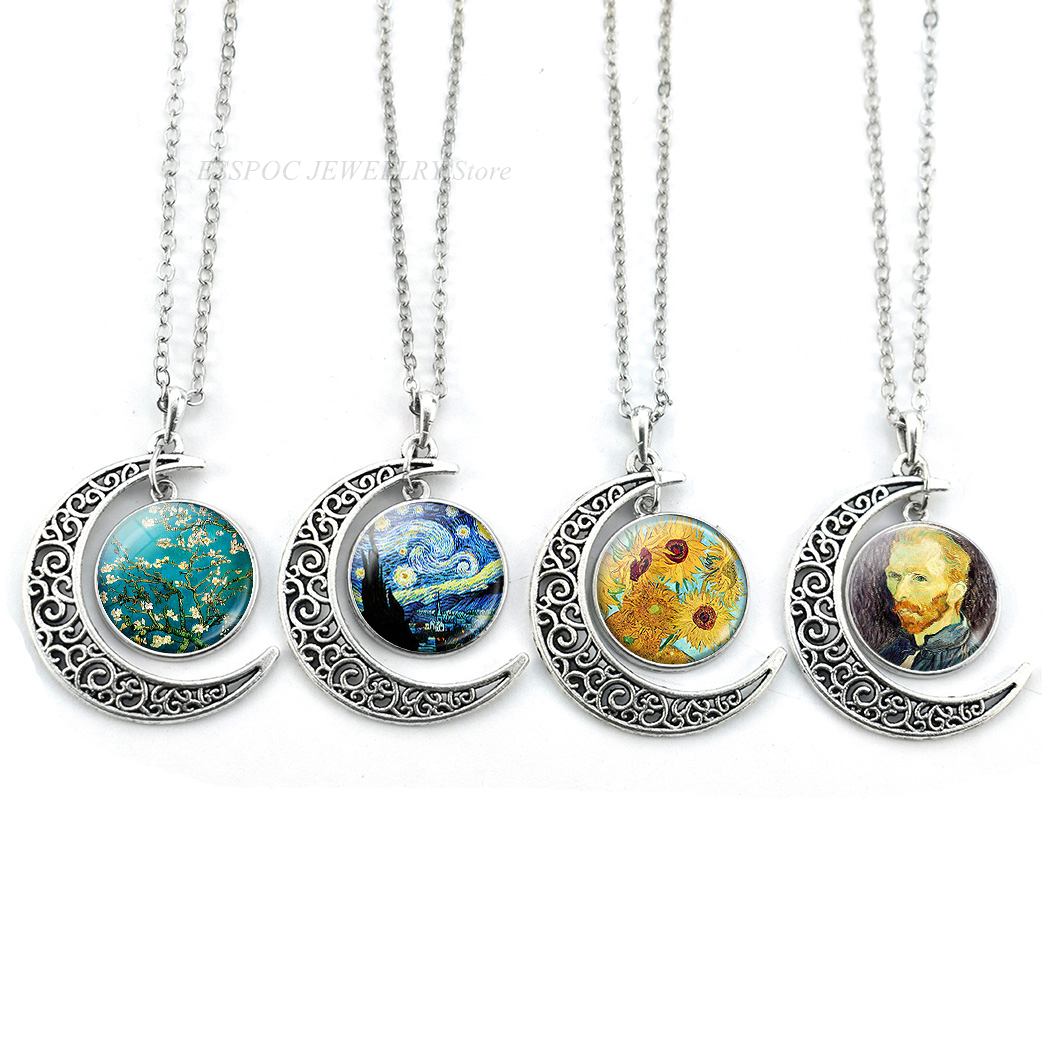 Vintage Painting Gift for Her Art Jewellery Van Gogh Moon Necklace Pendant