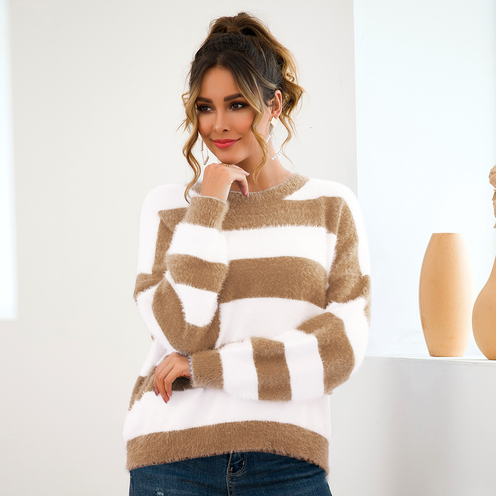 Women Round Neck Long Sleeve Casual Pullovers Ladies Striped Knitting Sweater Jumpers Autumn Winter Clothes New 2019 Pull Femme