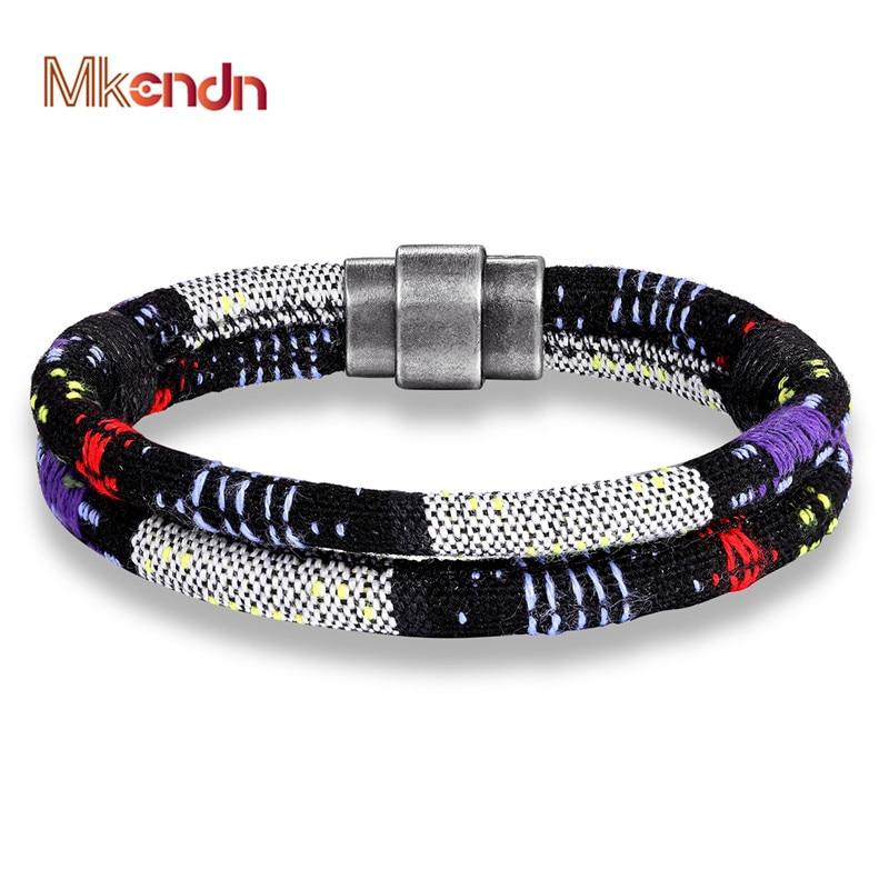 MKENDN Brazil Boho Braided Bracelets for Women Friendship Bohemian Handweave Cotton Rope Magnetic Clasp Ethnic Charm Pulseras